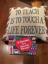 Teacher necklace, pillow, & book in Ramstein, Germany