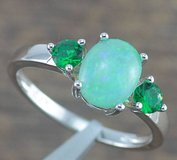 Green Fire Opal and Green Emerald Quartz Ring - Size 7 in Alamogordo, New Mexico