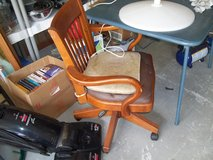 SOLID WOOD DESK CHAIR WITH LEATHER SEAT  ADJ HEIGHT  ON WHEELS in Byron, Georgia