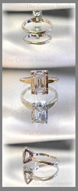 14K White Gold Emerald Cut Diamond Ring 1.1ctw, Clarity VVS1 , Size 5 in Camp Lejeune, North Carolina