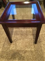 Glass and wood end table in Westmont, Illinois