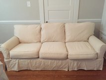 Couch- farmhouse style slip cover white couch in Goldsboro, North Carolina