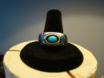 Mens New Navajo ROIE JAQUE Sterling Silver Turquoise Coral Chip Inlay Ring Sz 10.5 in Camp Lejeune, North Carolina