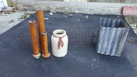 Metal basket, metal planter, candle holders in Morris, Illinois