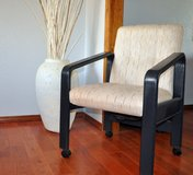 Solid Oak and Fabric Dining Room Chairs (6) in Mountain Home, Idaho
