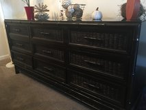 *REDUCED* Vintage bamboo wicker glass topped dresser  sideboard * REDUCED* in Beaufort, South Carolina