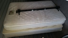 Full mattress with box spring and metal frame in Fort Bliss, Texas