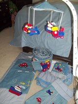 Boy's Crib Bedding w/Valances, Lamp, Mobile, Diaper Stacker, Coat Hook, Wallpaper Border in Camp Pendleton, California