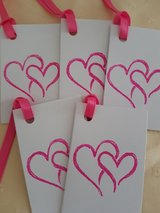 8 Folded Valentine Gift Tags Handmade in Ramstein, Germany