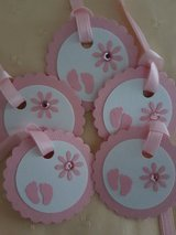 8 Baby Shower Tags Handmade in Ramstein, Germany