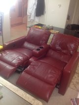 Dual-Recliner, motorized, Christmas-RED, leather, electric plug-in, $199 obo. in Fort Lewis, Washington