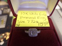 10k white gold diamond ring size 7.5 ladies in Cherry Point, North Carolina