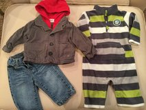 Jeans, jacket & Carter's fleece...size 6 months in Naperville, Illinois