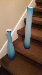 Large / 2 Piece Retro 2 Tone Blue Vase Set in Clarksville, Tennessee