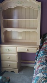 Girl's bedroom set - table, chest with mirror and twin size bed in Naperville, Illinois