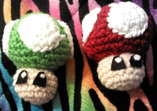 Crochet 1-UP and Super mushroom in Colorado Springs, Colorado