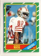 Jerry Rice Rookie Card in pertective case 1986 Topps #161 in Glendale Heights, Illinois