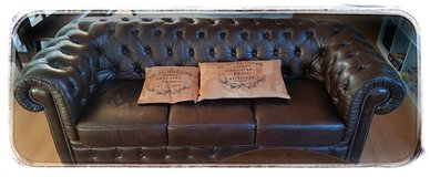 Chesterfield - 3 seat leather sofa in Baumholder, GE