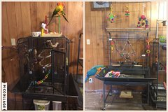 Bird cage and playstand in Leesville, Louisiana