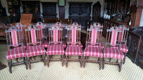 Set of 12 Carved Oak Chairs date approx 1880 Free Delivery in Lakenheath, UK