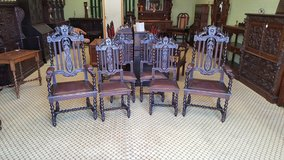 Set of 6 Carved Oak Barley Twist Chairs others available free delivery in Lakenheath, UK