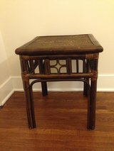Vintage bamboo rattan side table in Naperville, Illinois