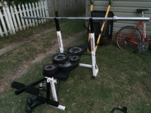 Weight bench with weights and hand weights in Beaufort, South Carolina