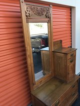Oak Cheval Dresser W/ Beveled Mirror in Camp Lejeune, North Carolina