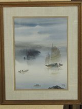 Watercolor painting - Fishing in the Mist in Ramstein, Germany