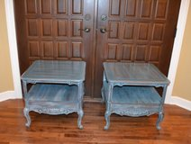 2 end tables finished in black and blue in Morris, Illinois