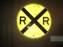 Rail Road Crossing Sign in Aurora, Illinois