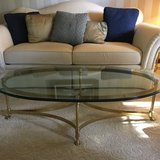 Brass and glass coffee table in Naperville, Illinois