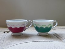 Pink and Green tea cups by Gold in Algonquin, Illinois