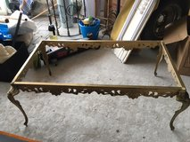 Decorative Brass Coffee Table w/ Marble Top in Ramstein, Germany