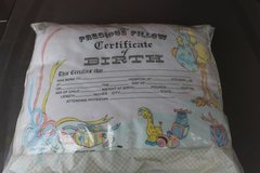 Certificate of Birth Baby Pillow in Fairfield, California