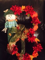 Fall double scarecrow wreath in Elizabeth City, North Carolina