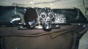 Skull Gem Knuckle Clutch Purse Black With Metal Strap in Fort Bliss, Texas