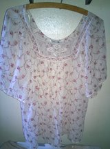Forever 21 Rose Print Chiffon Top With Crochet Neckline, Size Large in Fort Bliss, Texas