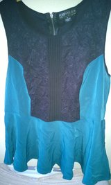 Forever 21 Plus Flared Panel Top, Black Lace and Teal, 1X in Fort Bliss, Texas