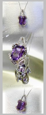 10K White Gold Box Chain with Amethyst Pendant embraced in Diamonds, (approx .25ctw) in Camp Lejeune, North Carolina