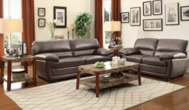 Chocolate Brown Bonded Leather Sofa & Love in Beaufort, South Carolina