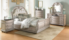 Tufted Leather King Sleigh Bed Group in Beaufort, South Carolina
