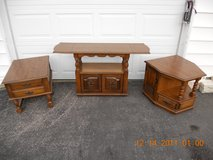Sofa Table And Two End Table Set Distressed Pecan Finish Like New in Elizabethtown, Kentucky