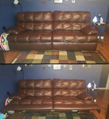Brown leather couch in Fort Leonard Wood, Missouri