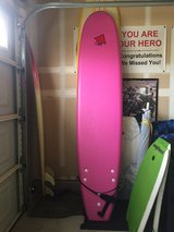 8' pink foam surfboard in Vista, California