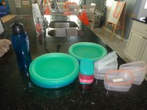 12 Heavy duty plastic plates and 9 bowls with lids and Water Bottle in CyFair, Texas