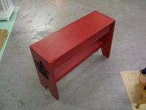 Red Rustic Chalk Painted Bench with Tin Star Accents in Byron, Georgia