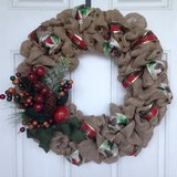 Christmas Red and Gold Burlap Wreath in Beaufort, South Carolina