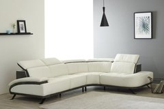 """NEW MODEL - Sectional """"Dakar"""" in White Leather and Grey Microfiber Trim - Price incl. Delivery in Alconbury, UK"""