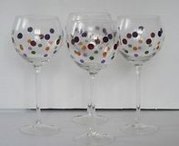 Pampered Chef Set of 4 Retired Dots Stemware Balloon Wine Goblets in Conroe, Texas